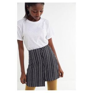 UO Ellie Striped Side Button Mini Skirt